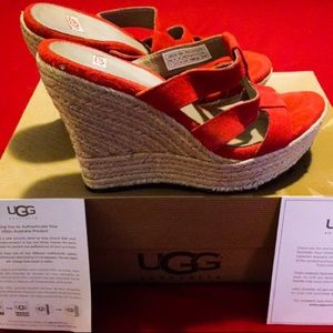 Brand New in Box! Red Suede Leather UGG Wedges